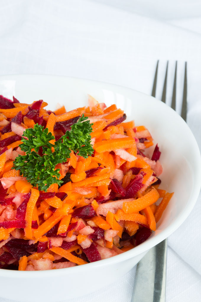 Apple Beet Carrot Slaw with Honey Lemon Dressing {Video}