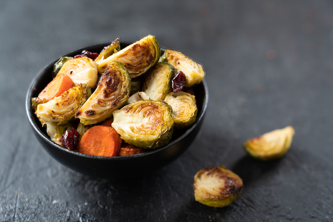 Brussels sprouts with roasted carrots, hazelnuts, and cranberries