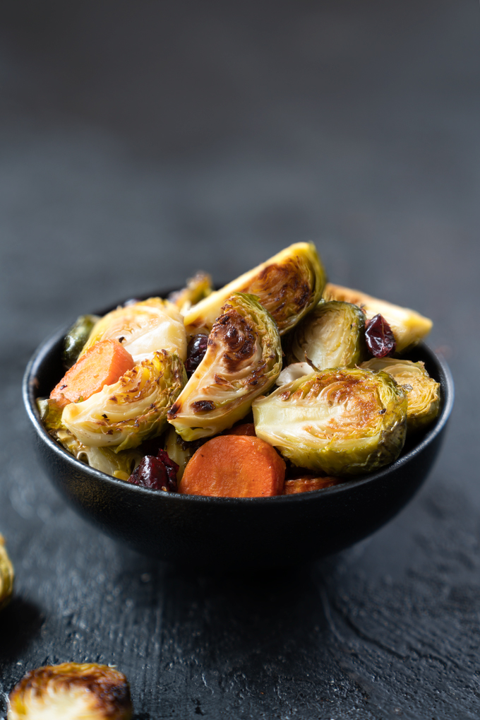 maple roasted Brussels sprouts with hazelnuts and cranberries