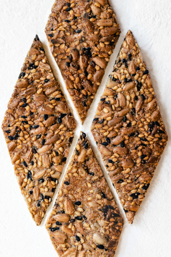 seed crackers with flaxseeds, sunflower seeds, and sesame seeds