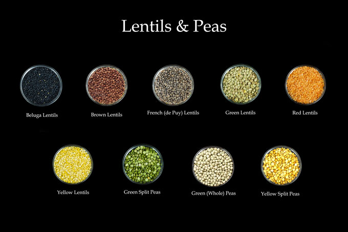 dried legumes - lentils and peas
