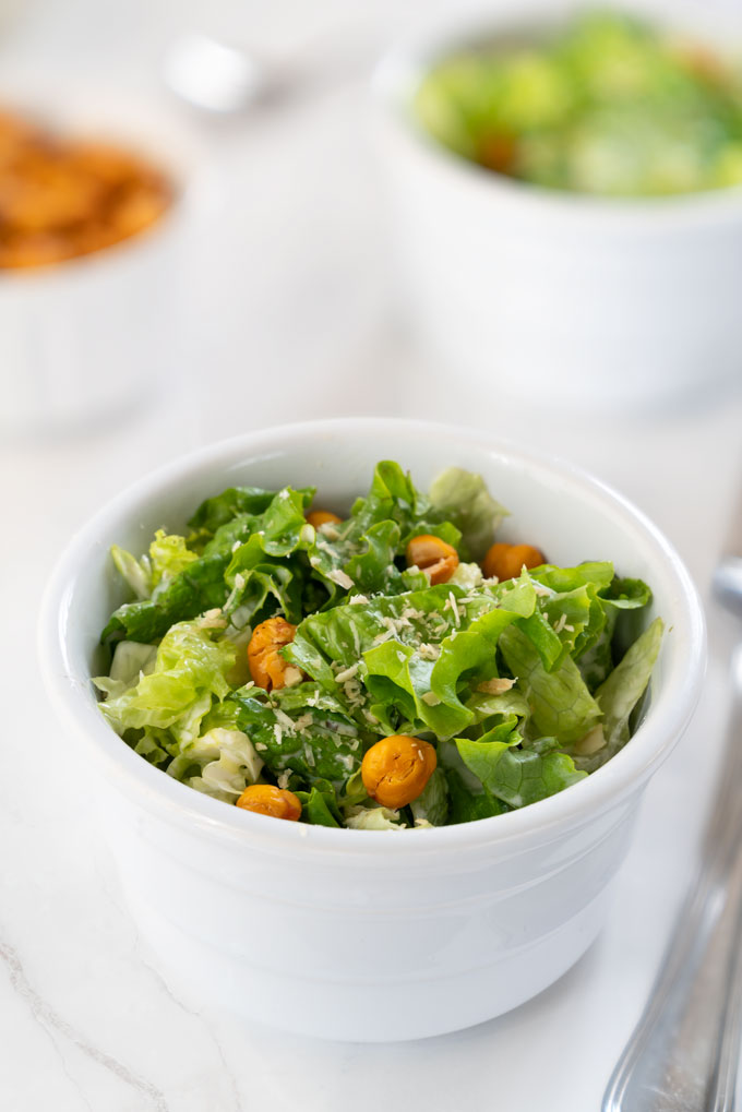 Caesar salad - healthy, vegan, cashew dressing and Parmesan