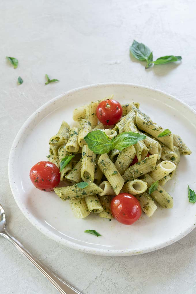 Basil Pesto Pasta with Charred Tomatoes {Video}
