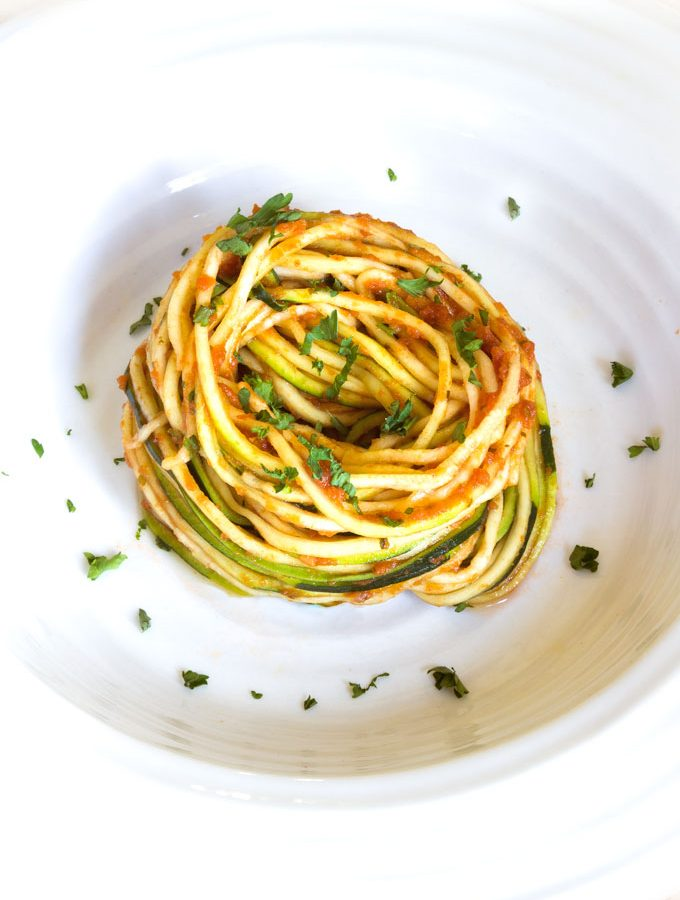 zucchini noodles and marinara
