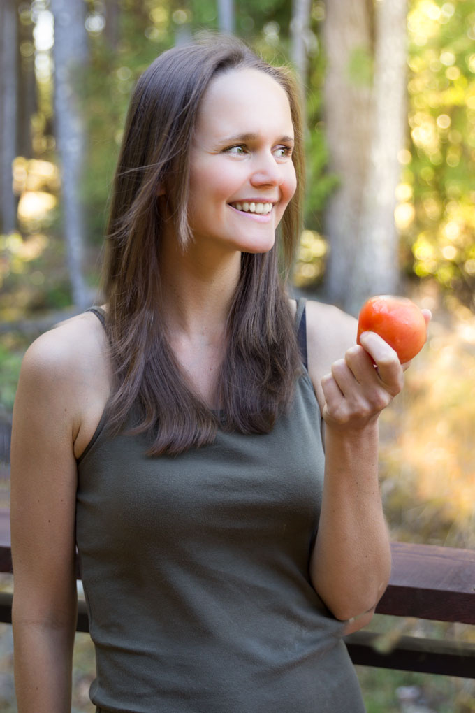 healthy eating - Petra holding a tomato