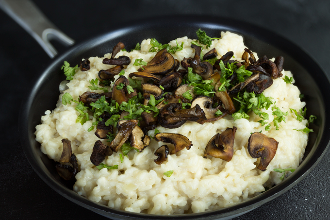risotto with mushrooms - vegan, healthy