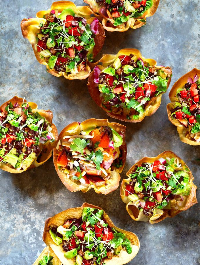 taco bowls with cauliflower-walnut taco meat - vegan