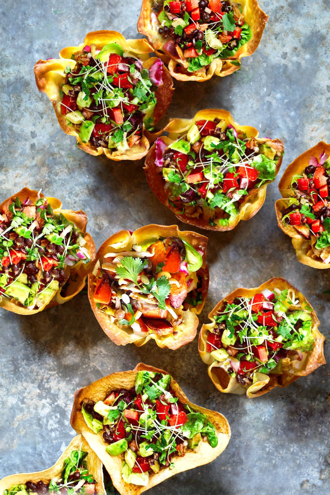taco bowls with cauliflower-walnut taco meat - vegan