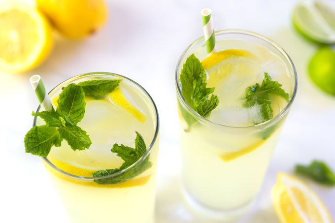 lemonade with lemons, mint, and stevia - keto, paleo, vegan