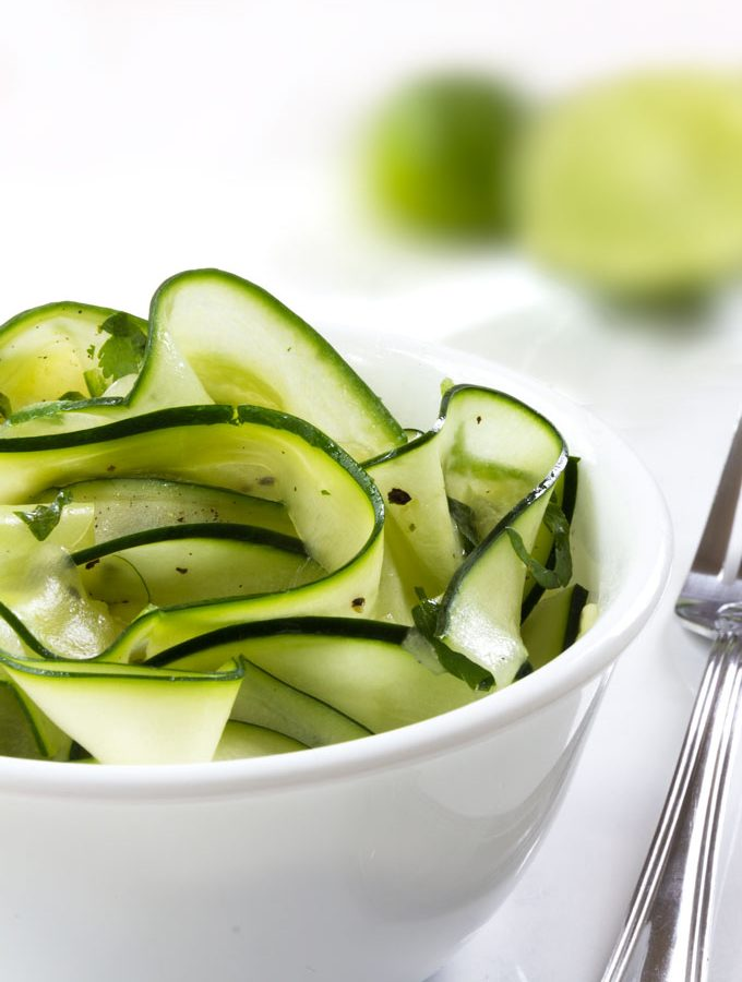 cucumber zucchini salad with spicy lime dressing
