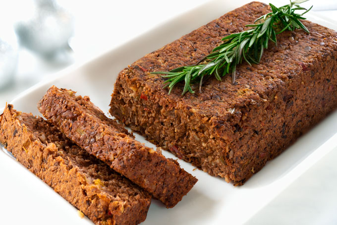 vegan lentil loaf with walnuts and mushrooms