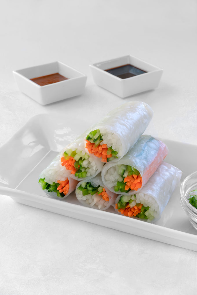 fresh spring rolls with vegetables