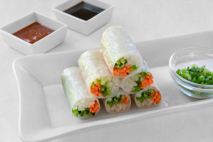 Vietnamese spring rolls with vegetables