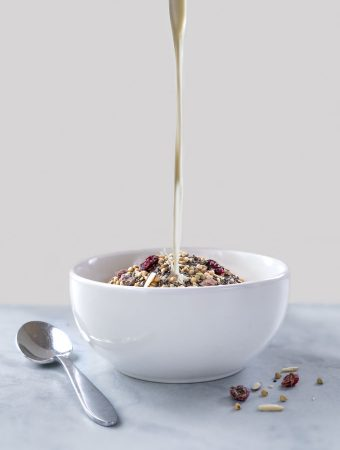 high-protein cereal - chia seeds, hemp seed, buckwheat