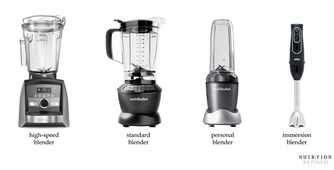 types of blender - high-speed, standard, personal, immersion