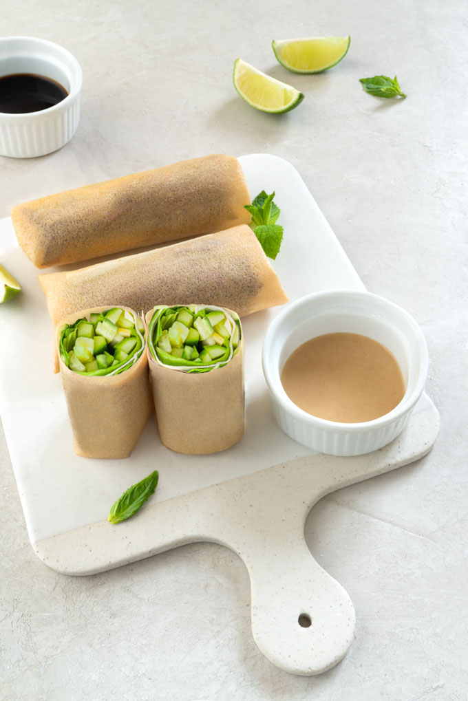 coconut tortillas with vegetables and cashew dipping sauce