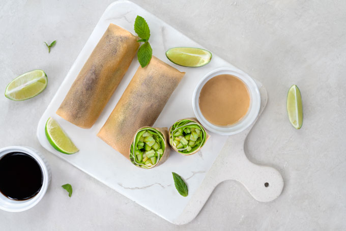 coconut tortillas from coconut meat filled with vegetables