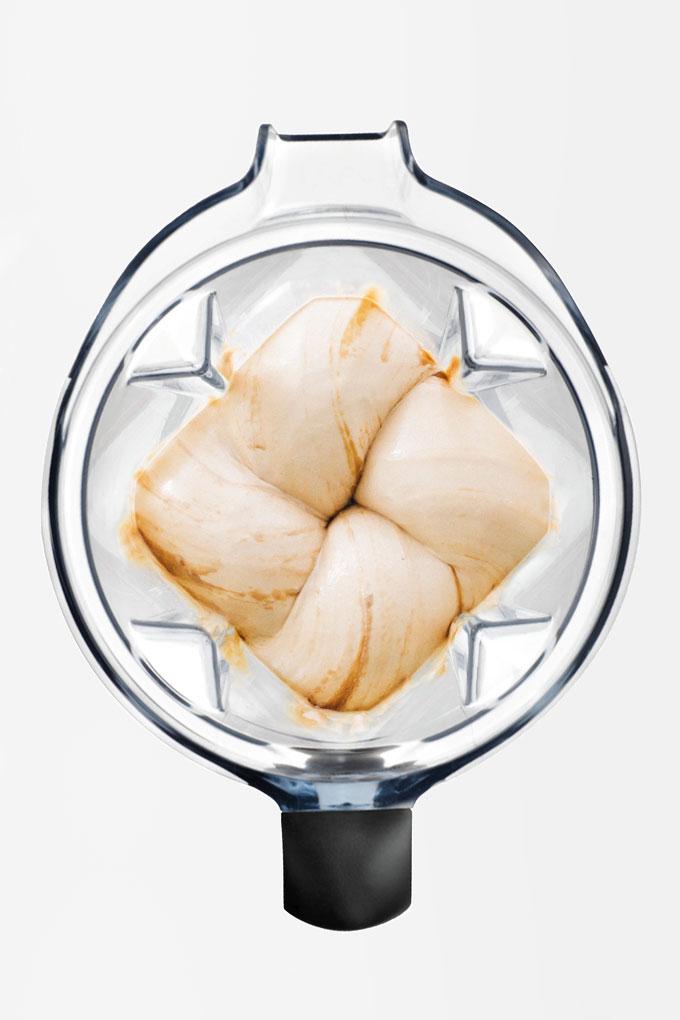 vanilla ice cream in a Vitamix blender