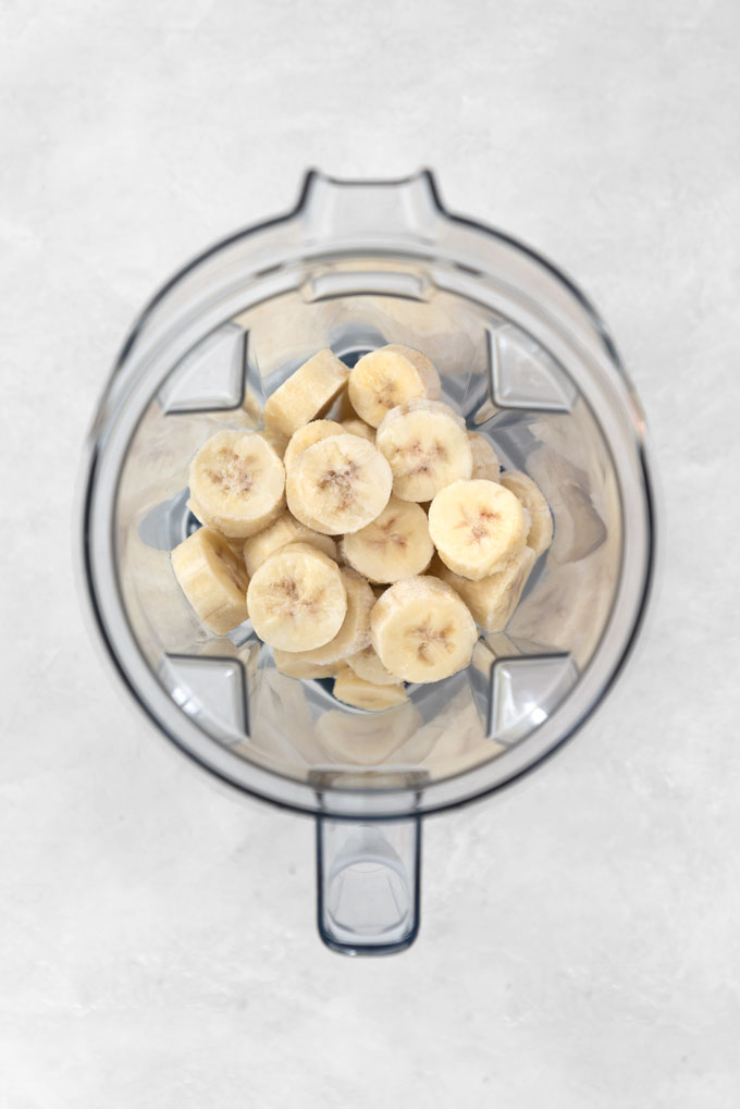 frozen bananas in a Vitamix blender