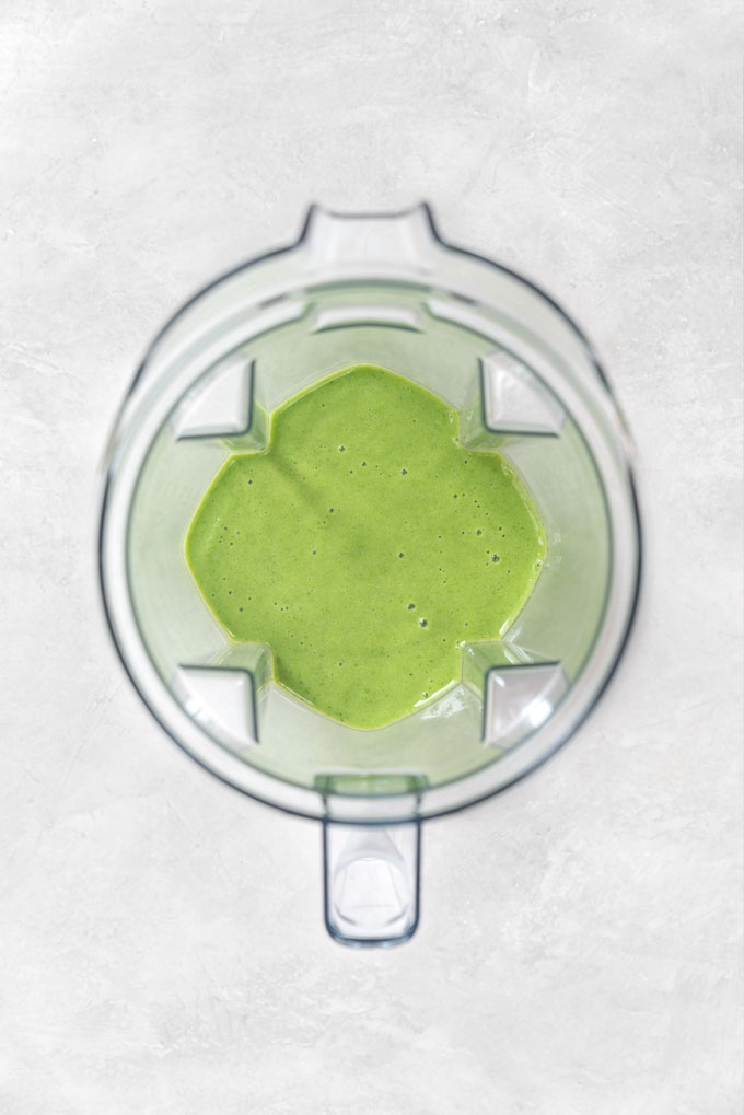 cucumber pineapple smoothie in a vitamix blender