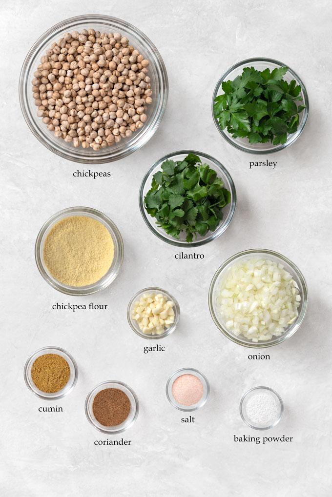 ingredients for baked falafel