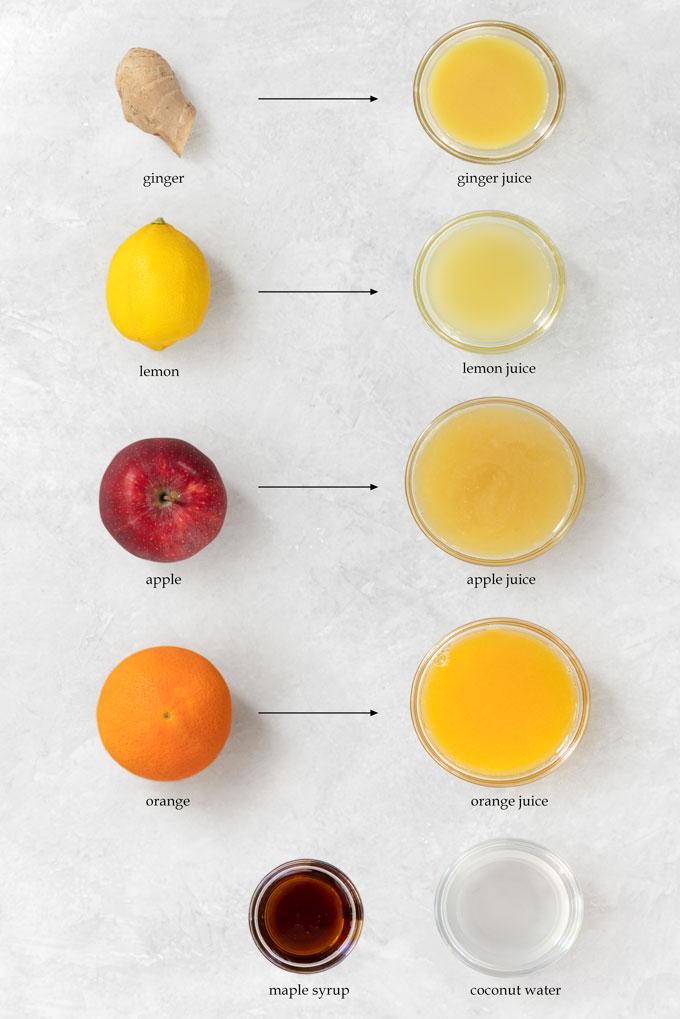 ingredients for ginger shots